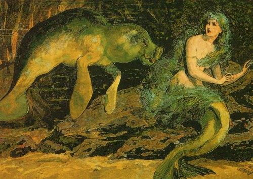 Sirenian and mermaid