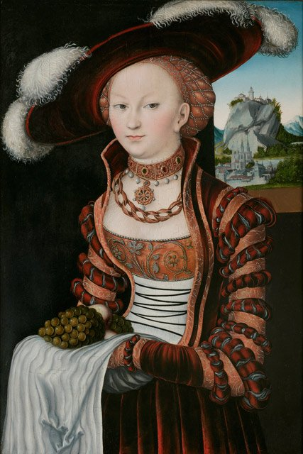 Lucas Cranach (Northern Renaissance Painter, 1472-1553) and his workshop Portrait of a Young Lady Holding Grapes