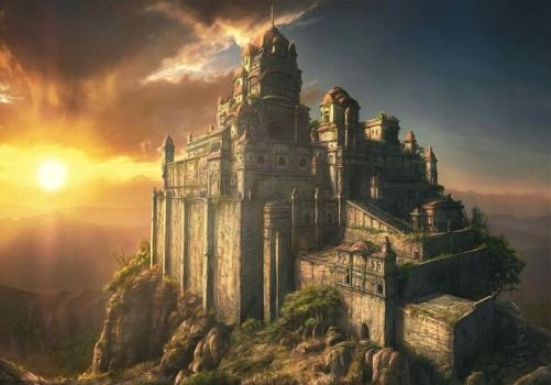 Sun_castles_rocks_fantasy_art_cities_wallpaperswa.com_36